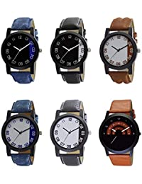 NEUTRON Latest Designer Black Blue And Brown Color 6 Watch Combo (B37-B38-B39-B40-B41-B46) For Boys And Men