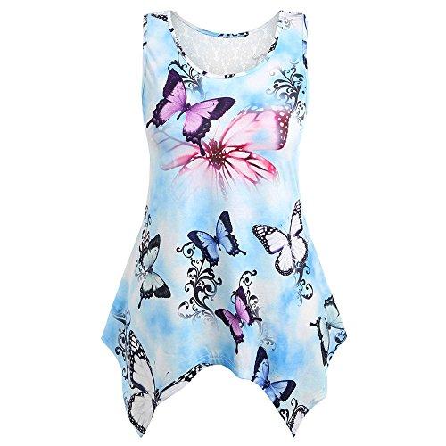 DEELIN Karneval Frauen Casual Lace Butterfly ärmellose Weste Shirt Tank Bluse Tunika Tops -