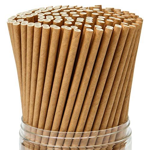 Keriber 350 Piezas Pajitas de papel Kraft marrón Pajita biodegradable