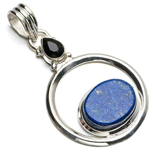 stargems-tm-lapis-lazuli-naturelles-et-onyx-noir-boho-style-argent-sterling-925-pendentif-51-cm