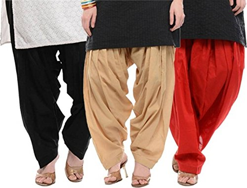 I Shop Traditional Patiala Salwar 100% Cotton Free Size -COMBO-03(BEIGE_BLK_RED)