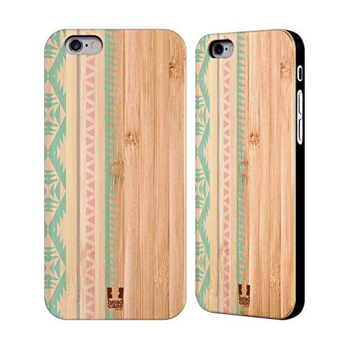 Head Case Designs Sarcelle Empreintes En Bois Tribales Étui Coque En Bois De Bambou Pour Apple iPhone 5 / 5s / SE Sarcelle