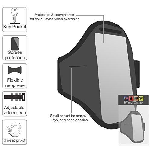 Rose Noir GYM réglable de jogging Running ArmBand Housse de cas avec écouteurs de style Zip de 3,5 mm Pour Apple iPhone 7 2016 Orange
