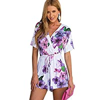Elite99 Women Short Sleeves Summer V Neck Purple Floral Print Jumpsuit with Belt (XS)