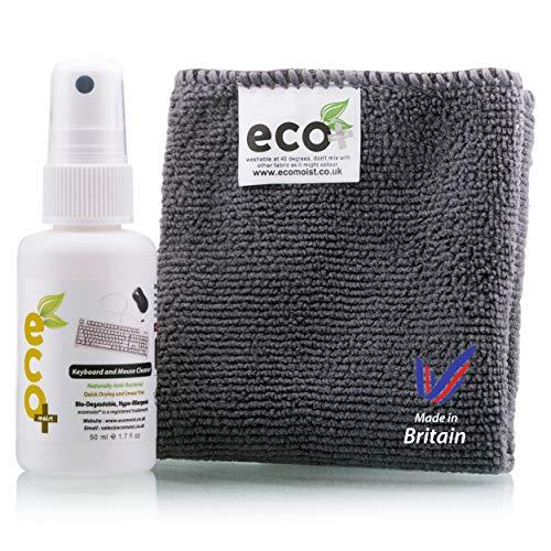 Ecomoist Natürliche Tastatur und Maus Reiniger 50Ml Am besten für Tastaturen Mäuse Pads Joysticks Spielkonsolen Made in England Eco-Friendly