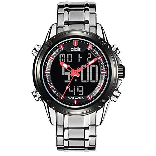 Angdu orologi da uomo cronografo impermeabile moda digitale multifunzione semplice blu rosso giallo orologio da polso in acciaio inossidabile per gli uomini (color : red)