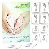 Tintenfreies Baby-Handabdruck- und Fußabdruck-Set mit 8Seiten Druckpapier & 2-tüchern