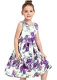 ephex Mädchen Kleid Lila Rosa Blume mit Schleife Gürtel Prinzessin Kleid mädchenkleider