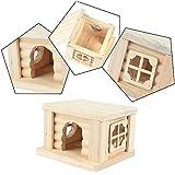 Kleine Tier Hamster Meerschweinchen Wooden Flat Dach Haus - 10,5 x 10 x 7,5cm