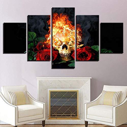 Kent Bailey leinwand - drucken Bilder modulare Home Decor 5 Pieces Halloween Horror schädel gemälde Feuer rote Rosen Poster Mauer - Kunst