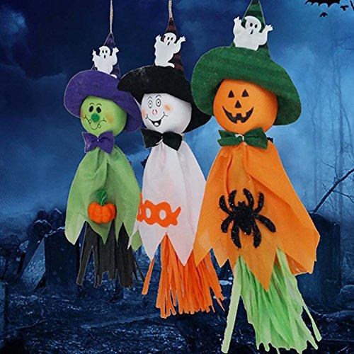 Pingenaneer 3 Stück Halloween Aufhänger Deko Gespenst Kürbisse Hängedekoration Partydeko (Hexe Beängstigend Masken)