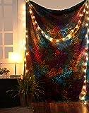 RAJRANG Indisch Bohemian Wandbehang Hippie Star Boho Tapestry Psychedelic Wall Hanging Baumwolle Wandteppich Hippie Bunt Tie Dye Tapisserie Mandala