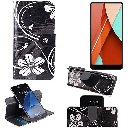 K-S-Trade Schutzhülle für Bluboo D5 Pro Hülle 360° Wallet Case Schutz Hülle ''Flowers'' Smartphone Flip Cover Flipstyle Tasche Handyhülle schwarz-weiß 1x