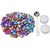 eBoot 140 Piezas Granos de Cera de Sellado Lacre en Forma de Estrella con 1 Pieza de Cuchara de Fundición de Cera y 2 Piezas de Velas, 9 Colores