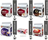 TASSIMO T Discs Dosette Pods Coffee Latte Cappuccino Americano Cadbury Hot Chocolate Variety Box Set 56 Cups Drinks ☕☕