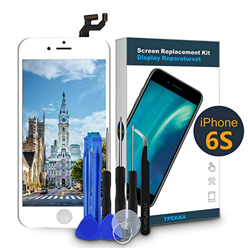 TPEKKA LCD Touchscreen für iPhone 6S Display Ersatz LCD Bildschirm-Front Komplettes Glas Panel Digitizer Display mit Reparatur Set Werkzeuge für iPhone 6S DIY Weiß, 4.7 Zoll...