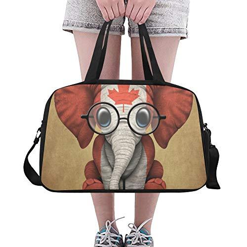 Plosds Umhängetasche Kleines Elefantenbaby Mit Brille Und Kanadischer Flagge Yoga Gym Totes Fitness Handtaschen Seesäcke Schuhbeutel Für Sportgepäck Womens Outdoor Tote Zur Aufbewahrung -