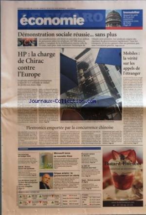 FIGARO ECONOMIE (LE) [No 19026] du 05/10/2005 - IMMOBILIER - QUAND LES PRIX DE LA PETITE COURONNE RATTRAPENT CEUX DE PARIS DEMONSTRATION SOCIALE REUSSIE... SANS PLUS HP - LA CHARGE DE CHIRAC CONTRE L'EUROPE FLEXTRONICS EMPORTEE PAR LA CONCURRENCE CHINOISE MOBILES - LA VERITE SUR LES APPELS DE L'ETRANGER L'ESSENTIEL - LES SURPRISES DU BUDGET 2006 - SNCM - BRETON DEVANT LES SYNDICATS - LA COTE COMPLETE - MICROSOFT LANCE SA NOUVELLE XBOX - GRIPPE AVIAIRE - LE GOUVERNEMENT EN AL par Collectif