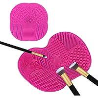 TASIPA Limpiador de cepillo de maquillaje de gran tamaño, Juego de 2 cepillos cosméticos de limpieza con copas de succión, estera de cepillo de limpieza para maquillaje cepillos y maquillaje (rosa)