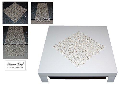 (MODERN + EDEL Tischdecke 30x30 cm WEIHNACHTEN PLAUENER SPITZE® Sternenflimmer sekt gold Spitzendecke Advent (Deckchen 30x30 cm))
