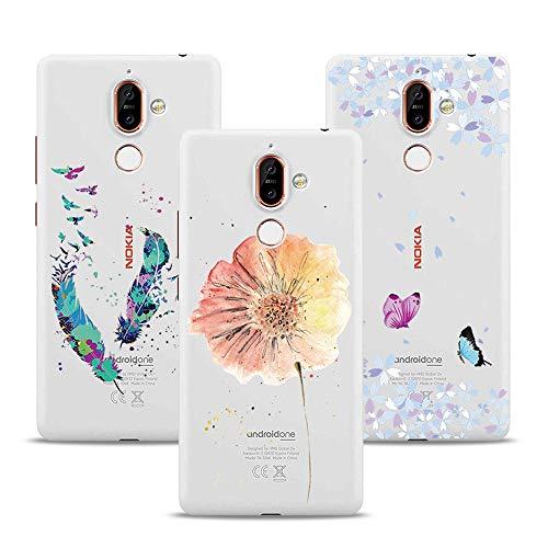 XTCASE 3X Cover Nokia 7 Plus Trasparente Silicone Custodia Ultra Sottile Case Morbida TPU Gel Slim Leggera Bello Elegante Antiurto AntiGraffio - Farfalla + Fiore Rosso + Piuma
