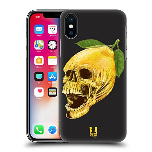 Head Case Designs Mela Teschi Di Frutti Cover Retro Rigida per Apple iPhone X Limone