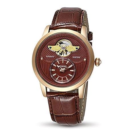 Time100 Montre or rose homme de la série de l'armée simple rétro automatique mécanique exquise distinguée bracelet en cuir véritable W70052G.03A