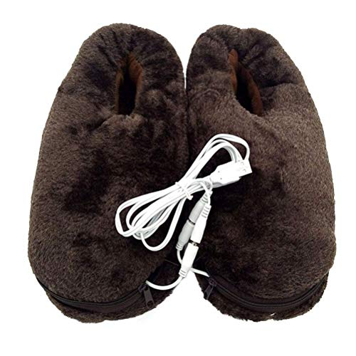 H.Yue Slippers Heated Foot Warmer USB Slippers Microwavable Slippers Winter Shoes Coffee -