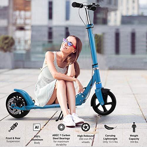 Hiriyt Kinder/Erwachsenen Roller mit 3 Sekunden Easy-Folding-System, 220lb Klapproller mit/ohne Scheibenbremse und 200mm großen Rädern (Blau mit Scheibenbremse)