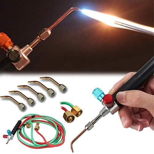 DoubleleSchmuck Juweliere Micro Mini Gas Kleine Fackel Schweißen Löten Kit Werkzeuge, Multifunktions Mini Schmuck mit 5 stücke Ersatz Düsen -