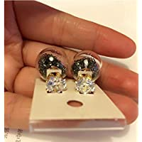 KPHY-South Korea Glass Crystal Ball Double-Sided Earrings Diamond Quicksand Super Flash Stud Earrings Double Ball EarringsB