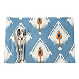 CJH Patrón de plumas nórdicas manteles individuales de algodón lepra Manteles manteles de estilo pop americanos 4 piezas