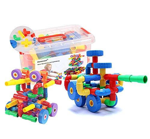 Genossen lernspiel Jouets Pierres Set tube Pierres DIY enfants jouets Pierres Box avec 8roues 80pcs