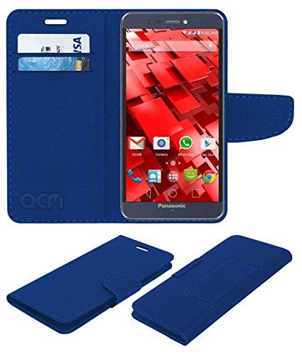 ACM Leather Flip Wallet Case for Panasonic P55 Novo Mobile Cover Blue