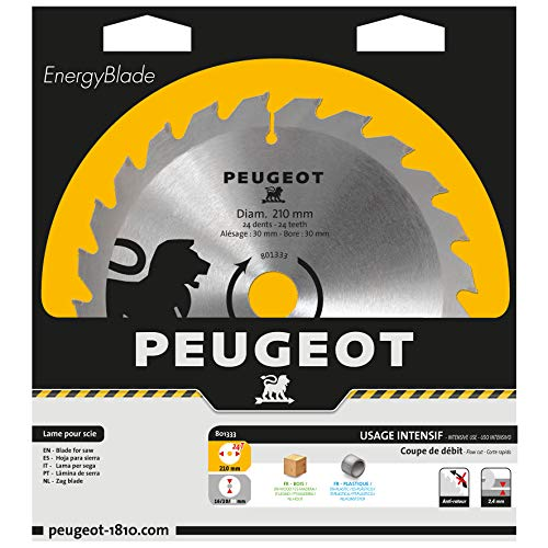 Peugeot 801333 Ø210 mm Karbid-Klinge, Ø210 mm, Bohrung 30 mm, 24 T, Durchmesser 210 mm, Bohrung 30 mm, Anzahl der Zähne 24 T,