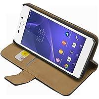 Membrane - Negro Cartera Funda Carcasa para Sony Xperia M2 Aqua - Wallet Case Cover + 2 Protector de Pantalla
