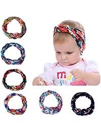 Saingace 6 Pcs Set Newborn Baby Girls Cotton Braided Hair Band Soft Cute Turban Head Wraps Headbad Hair Accessories for Toddlers Girls