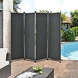 [pro.tec]® Outdoor Trennwand - 170 x 215cm - Paravent Sichtschutz Spanische Wand Garten Grau