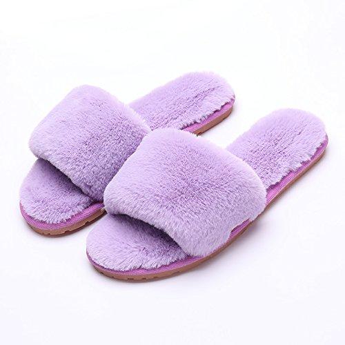 Mhgao slip da donna casual autunno inverno peluche cotone pantofole calde pantofole 3