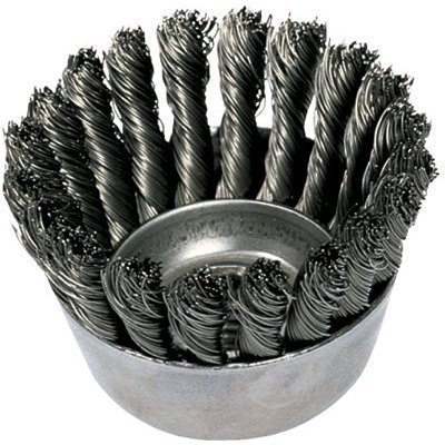 Knot Wire Cup Brush (PFERD 82220 Single Row Power Knot Wire Cup Brush with Standard Twist and External Nut, Threaded Hole, Carbon Steel Bristles, 2-3/4