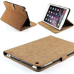 Case Buddy ™ Designer Coffee Brown Suede Leather Folio Case for iPad Mini, iPad Mini 2 and iPad Mini 3 with Retina Display Stand Cover