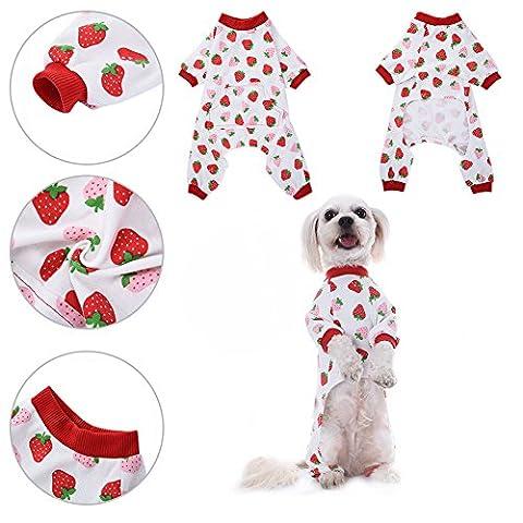 Vêtements pour Chien Compagnie Chemise de Chiot Pyjamas Motif en Coton Vêtements de Nuit Robe Pyjama pour Chat Pièce de Awhao XS