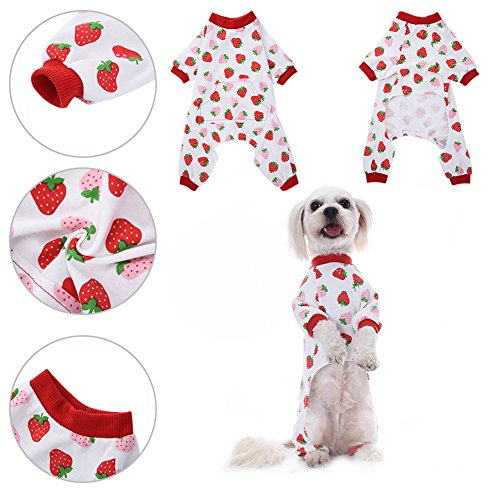 Pet Dog Clothing Puppy Shirt Pajamas Pattern Cotton Sleepwear Night Dress Cat Pajama Clothes Jumpsuit by Awhao M
