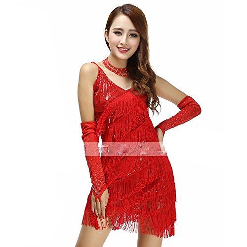 uchtanz Kostüm Für Frauen Quasten Bauchtanz Outfit Rot Quasten Latin Dance Kleid Rock Kostüm Body Pailletten Kurzen Rock Leistung Kostüm (Tango Tänzer Halloween Kostüm)