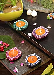 Bavla Diwali Decoration 4 Pc. Multicolor Wax Filled Designer Clay Diya Set