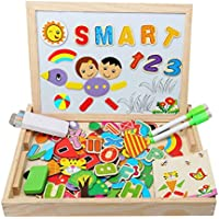 Magnetic Jigsaw Puzzles Wooden Educational Toy Double Sided Drawing Board for Kids 3 4 5 Years Old 100 Pieces