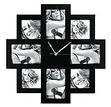 Unbekannt ZEP Taranto Wanduhr mit Bilderrahmen f?r 8 Bilder (4 Fotos mit 10x 15 cm und 4 Fotos mit 10 x 10 cm), schwarz