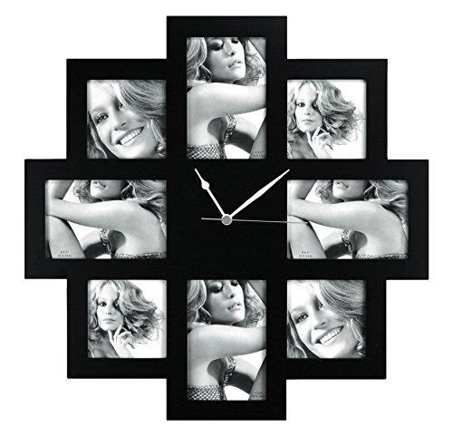 fotorahmen uhr Unbekannt ZEP Taranto Wanduhr mit Bilderrahmen f?r 8 Bilder (4 Fotos mit 10x 15 cm und 4 Fotos mit 10 x 10 cm), schwarz