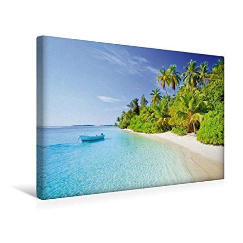 Premium Textil-Leinwand 45 cm x 30 cm quer, Kleines Boot schaukelt vor einem tropischen Strand mit Kokospalmen | Wandbild, Bild auf Keilrahmen. Malediven, Indischer Ozean (CALVENDO Orte)
