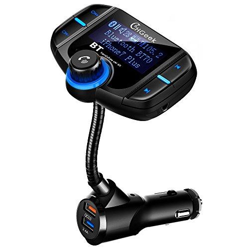 CHGeek Bluetooth FM Transmitter 5V/2.4A Quick Charger 3.0 KFZ Auto Wireless mp3 Player Audio Radio Adapter freisprecheinrichtung mit 2 USB Ladegerät, 1.7 Zoll LED Anzeige für iOS und Android Geräte (Wireless-auto Mp3-fm-transmitter)